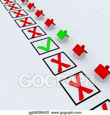 fcb0383383 Stock Illustration - Green and red check marks near houses. Clipart ...