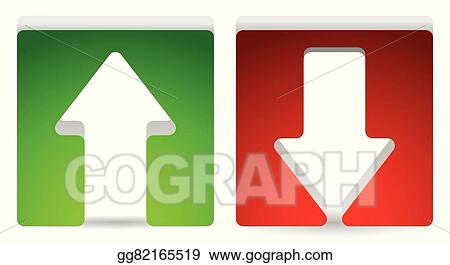 Vector Stock - Green and red, up and down arrow  vector