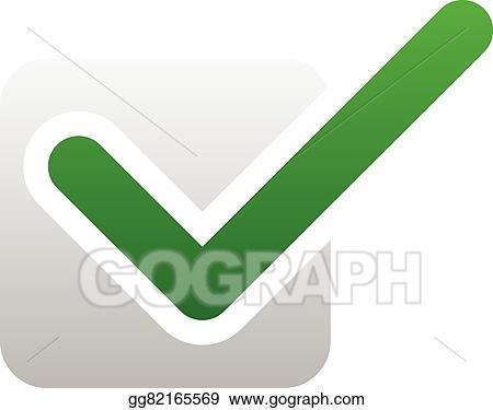 Vector Clipart Green Check Mark Over Square Tick Symbol Icon