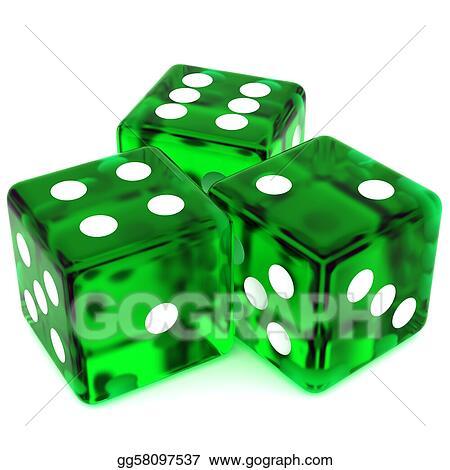 Stock Illustration - Green dice  Clipart Illustrations