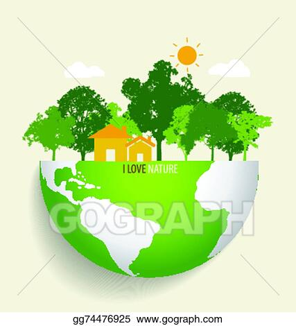 Vector Art Green Eco Earth Vector Illustration Clipart Drawing