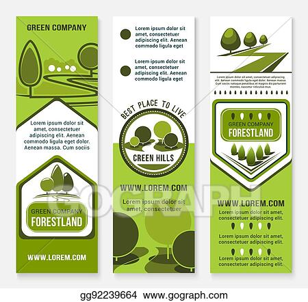 Green eco landscape design company vector banners - EPS Vector - Green Eco Landscape Design Company Vector Banners