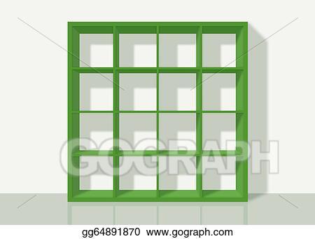 Green Empty Square Bookshelf On White Wall Background