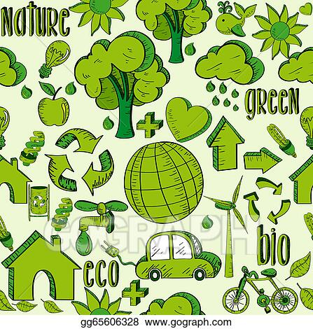 Vector Art Green Environment Icons Pattern Clipart Drawing