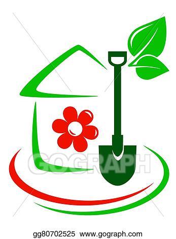 Vector Stock , Green garden icon with house. Stock Clip Art