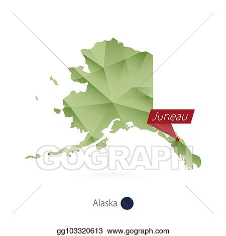 Vector Stock Green Gradient Low Poly Map Of Alaska With Capital