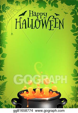 vector clipart green halloween poster template with orange potion