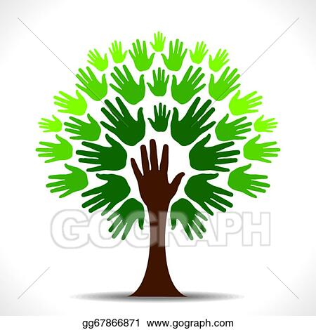 Vector Illustration Green Hand Tree Vector Eps Clipart Gg67866871