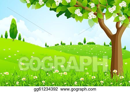 Vector Art Green Landscape With Tree Clipart Drawing Gg61234392