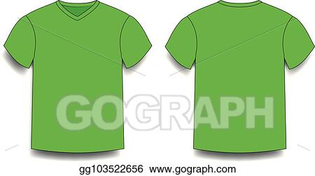 2960e38ca Clip Art Vector - Green male t-shirt template v-neck front and back ...