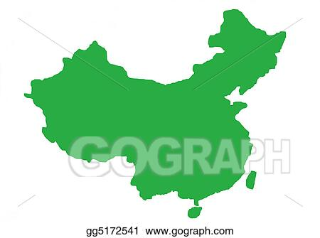 Stock Illustrations Green Outline Map Of China Stock Clipart