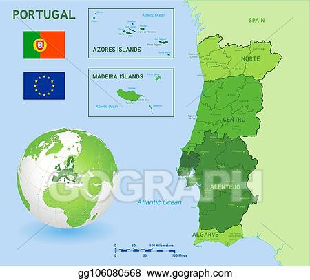 Vector Art Green Political Vector Map Of Portugal Clipart Drawing