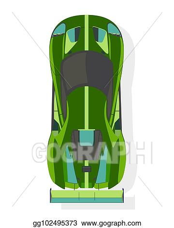 Vector Clipart Green Sport Car Top View In Flat Style Isolated On