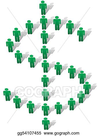 Vector Art - Green symbol people stand to form money dollar