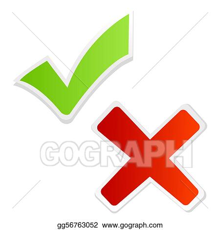 Stock Illustration Green Tick Mark And Red Cross Clipart Drawing