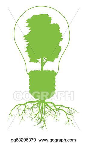 Vector Illustration - Green tree in light bulb symbol of