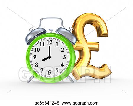 Stock Illustration Green Watch And Symbol Of Pound Sterling