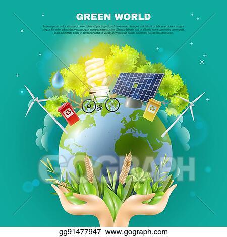 Vector Art Green World Ecology Concept Composition Poster Clipart