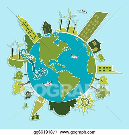 Vector Art Green World Renewable Resources Clipart Drawing