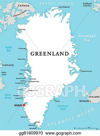 Map Of Canada Davis Strait.Vector Stock Greenland Political Map Clipart Illustration