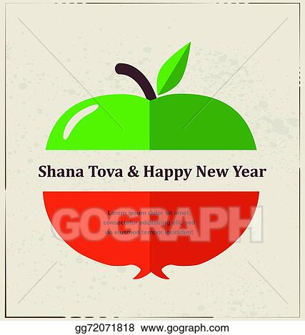 Vector stock greeting card for jewish new year rosh hashana with greeting card for jewish new year rosh hashana with traditional fruits m4hsunfo