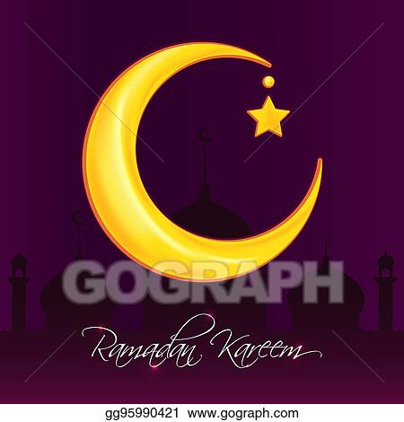 Vector clipart greeting card template for muslim holiday with flat greeting card template for muslim holiday with flat illustration of islamic mosque and crescent moon traditional ramadan kareem month celebration m4hsunfo