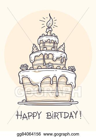 Admirable Vector Illustration Greeting Card With Big Birthday Cake Eps Funny Birthday Cards Online Alyptdamsfinfo