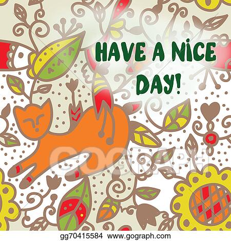 Stock illustration greeting card with cat have a nice day greeting card with cat have a nice day m4hsunfo