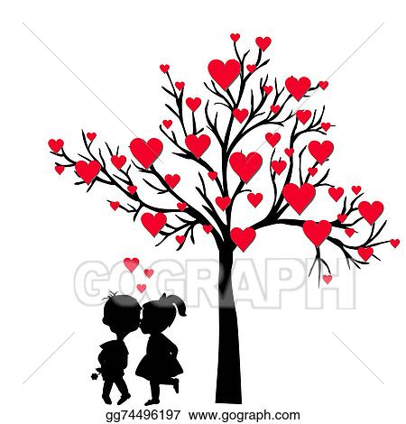 Stock Illustration Greeting Valentine S Day Card With Tree Of