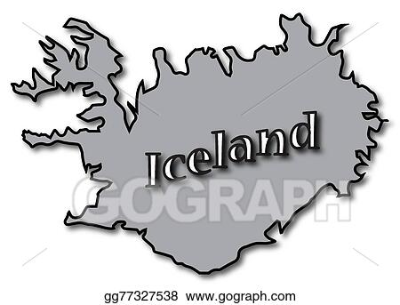 EPS Illustration - Grey iceland on map. Vector Clipart gg77327538 ...