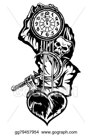 Drawings Grim Reaper Or The Death With A Clock Stock Illustration