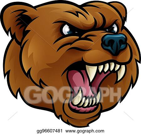 Bear angry. Eps illustration grizzly sports