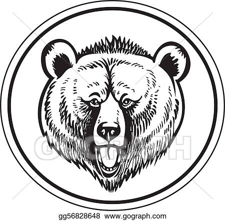 Bear Head Clip Art Black And White
