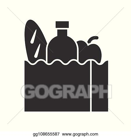 Vector Clipart Grocery Bag With Bread Water Bottle And Apple Food And Beverage Set Glyph Design Icon Vector Illustration Gg108655587 Gograph