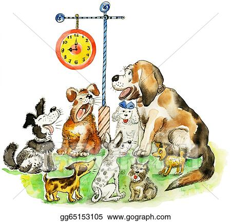 Clipart Group Of Barking Funny Dogs Stock Illustration Gg65153105 Gograph