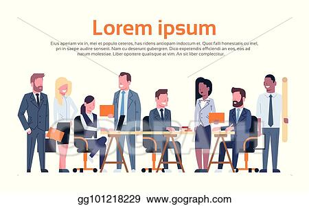 Vector Illustration Group Of Business People Working