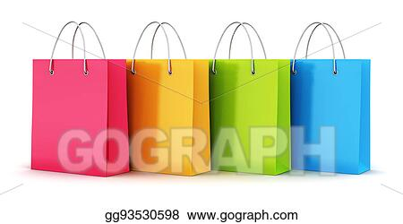 e1283283 Stock Illustrations - Group of color paper shopping bags. Stock ...