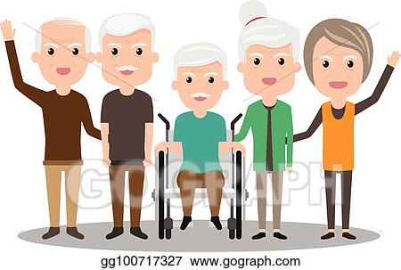EPS Vector - Group of elderly people stand together ...