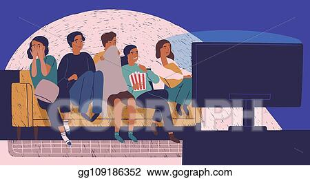 Vector Clipart Group Of Friends Sitting On Sofa Or Couch In