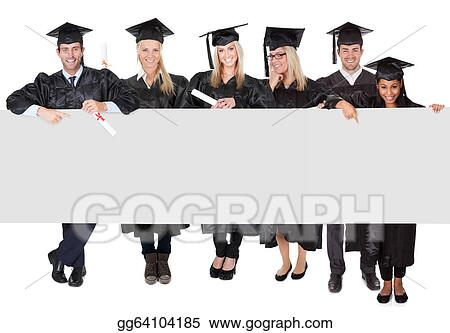 stock photography group of graduate students presenting empty