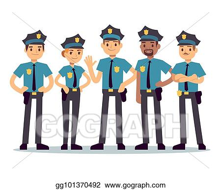 Vector Art Group Of Police Officers Woman And Man Cops Vector