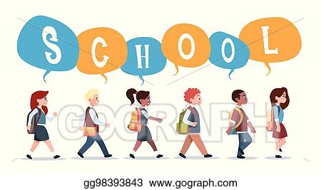 Back to school student. Vector art group of