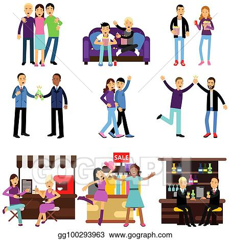 Vector Art Groups Of Girls And Boys Best Friends Having Good Time