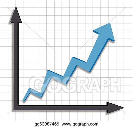 Vector Stock Growth Progress Blue Arrow Graph Clipart