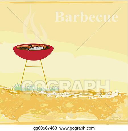 Stock Ilration Grunge Barbecue Party Invitation Clip