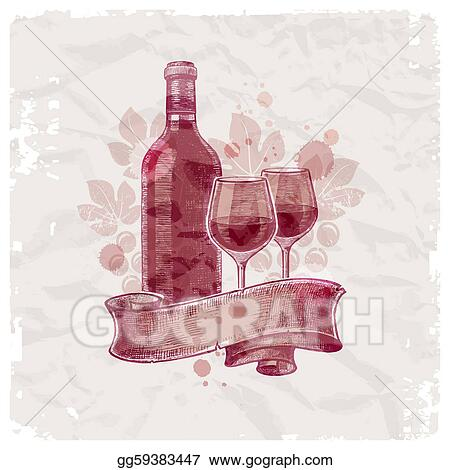 Grunge Hand Drawn Wine Bottle Glasses On Vintage Paper Background