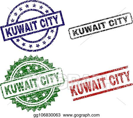 Clip Art Vector - Grunge textured kuwait city seal stamps  Stock EPS
