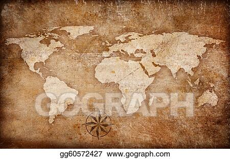 Drawing - Grunge world map background with rose compass  Clipart