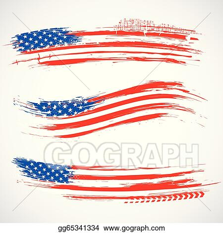 Eps Vector Grungy American Flag Banner Stock Clipart Illustration