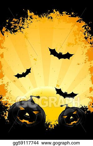 vector stock grungy halloween background with pumpkins bats and